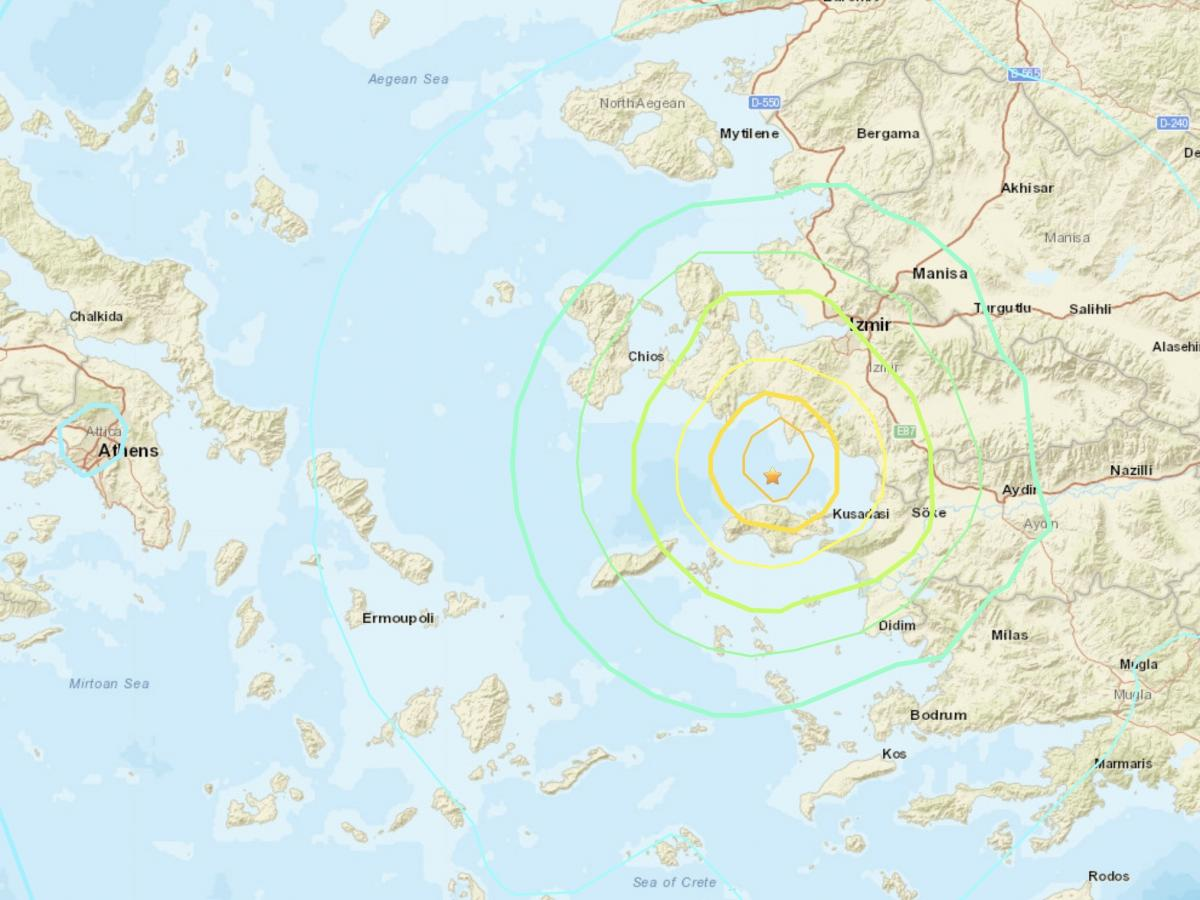 A strong earthquake shook parts of Turkey and Greece on Friday after striking north of the Greek island of Samos.