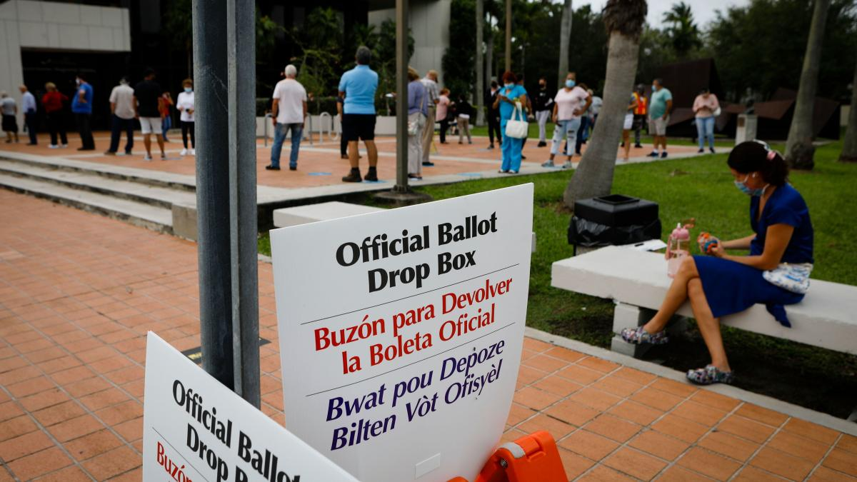 Ballot drop box signs are seen at Westchester Regional Library in Miami on Oct. 19.
