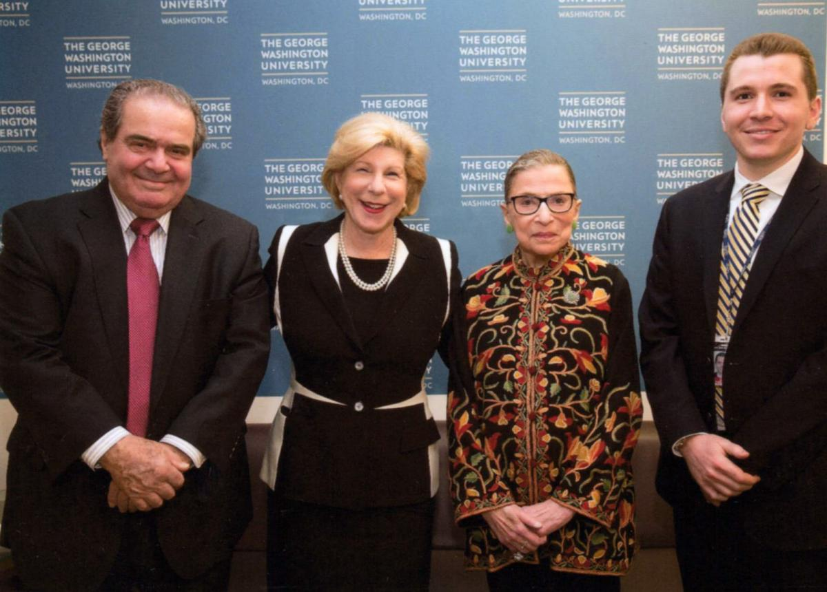 Totenberg, center left, with Ginsburg, center right.