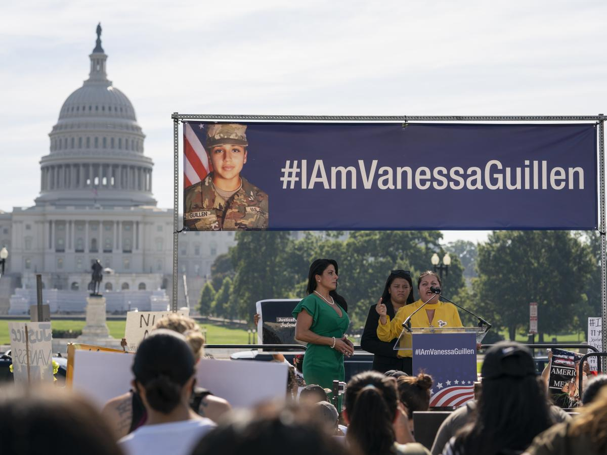 Guillén's mother, Gloria Guillén (right), and a sister, Lupe Guillén (center), speak about the slain soldier at a July 2020 news conference on Capitol Hill.