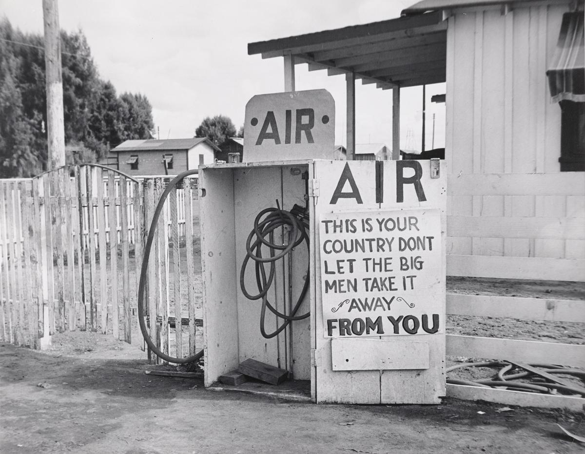 Dorothea Lange's Kern County, California (1938). The photographer's most famous work came while she was working with Depression-era federal programs, seeking to document the human fallout of the great economic collapse.