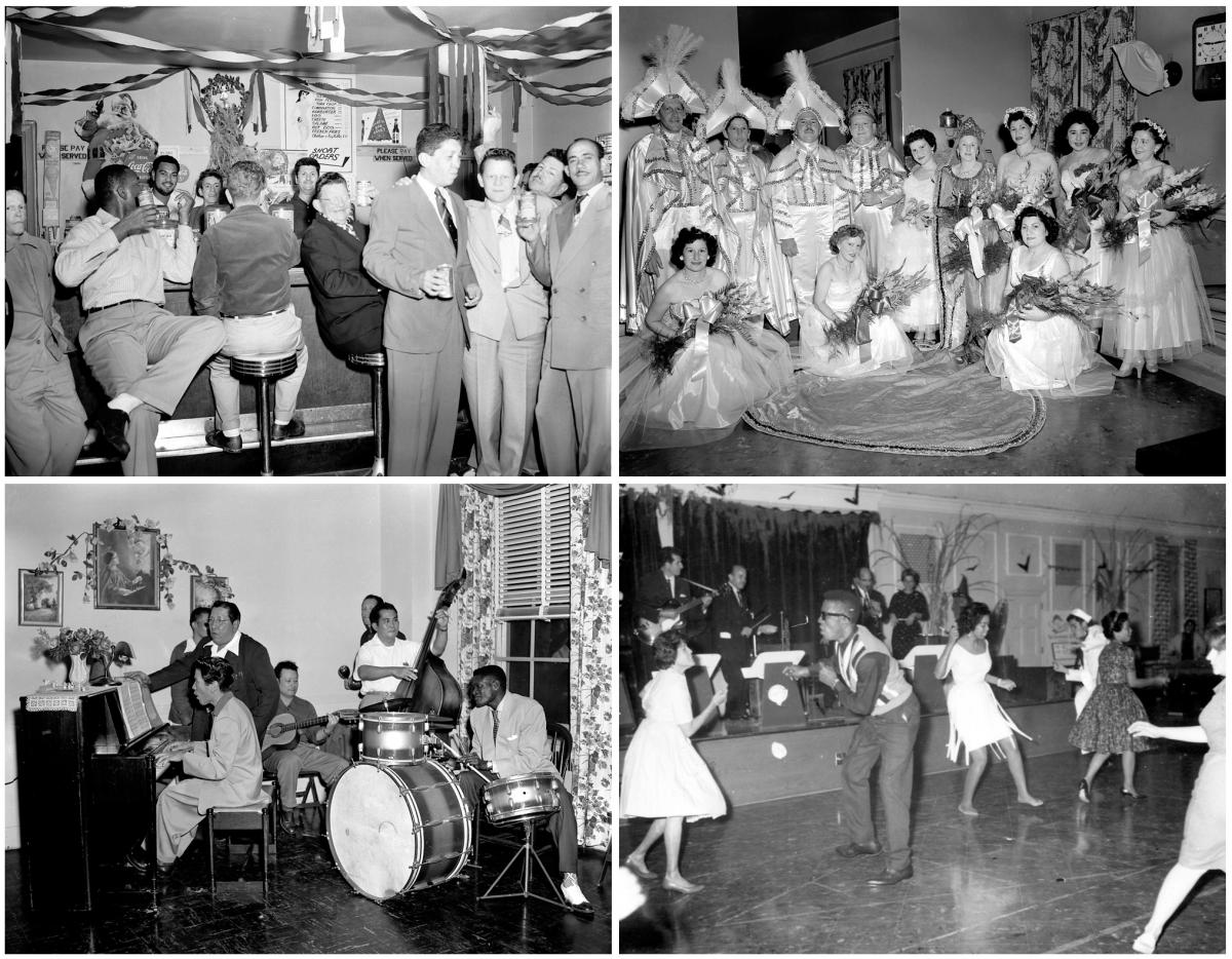 Patients at Carville were a diverse group — Black, white, Asian, Latino, rich and poor. Stigmatized because of their leprosy, they formed a tightknit community. Top left: a Christmas party, circa 1950. Top right: Patients dress as King Albert and Queen