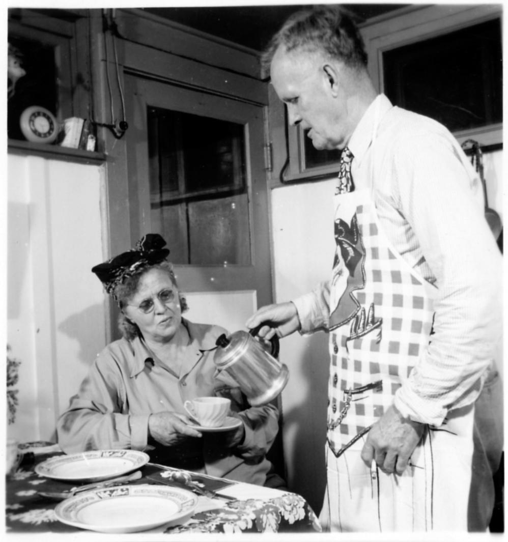 Hans Hornbostel visits his wife, Gertrude, a patient with leprosy, in her cottage on the grounds of the national leprosarium in 1948. The Japanese imprisoned both of them in the Philippines during World War II. They spoke out to get the right to vote rein