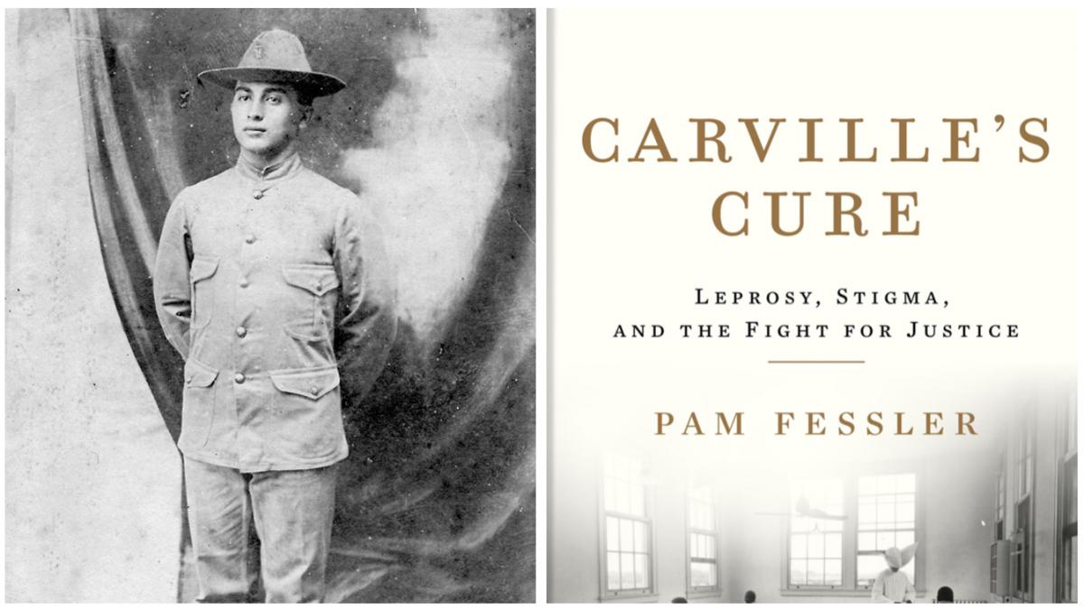Right: Morris Koll, a soldier and grandfather of author Pam Fessler's husband in was diagnosed with Leprosy (now referred to as Hansen's Disease). Left: the cover of NPR National Desk Correspondent Pam Fessler's new book Carville's Cure.