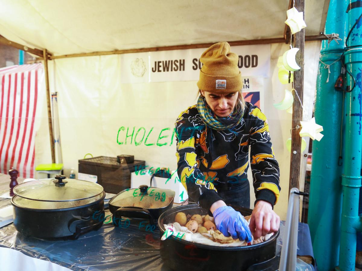"One of the vendors at Berlin's food hall during Nosh Berlin, the German capital's first food week, sold cholent, which he dubbed ""Jewish soul food."" March 19, 2017"