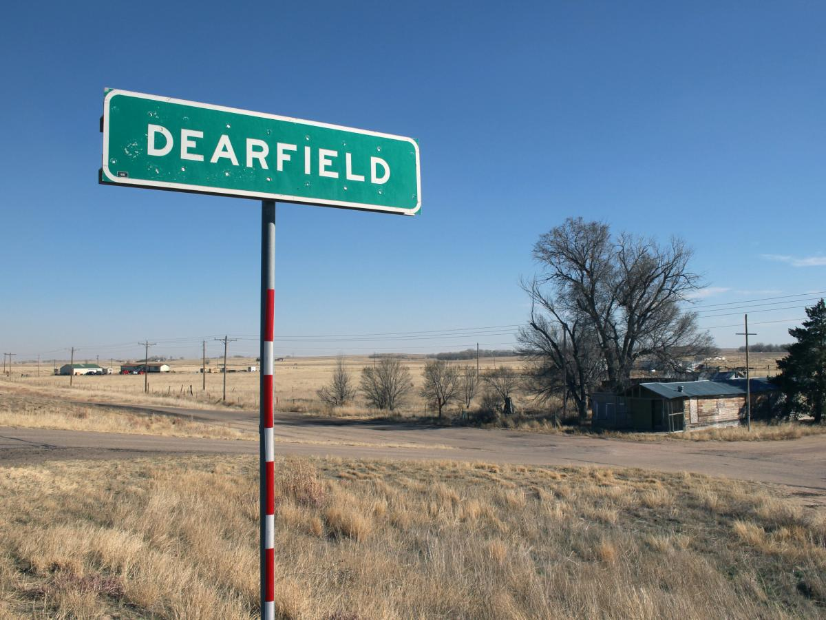 A marker on Highway 34, east of Greeley, Colo., shows where the African-American farming community of Dearfield once existed.
