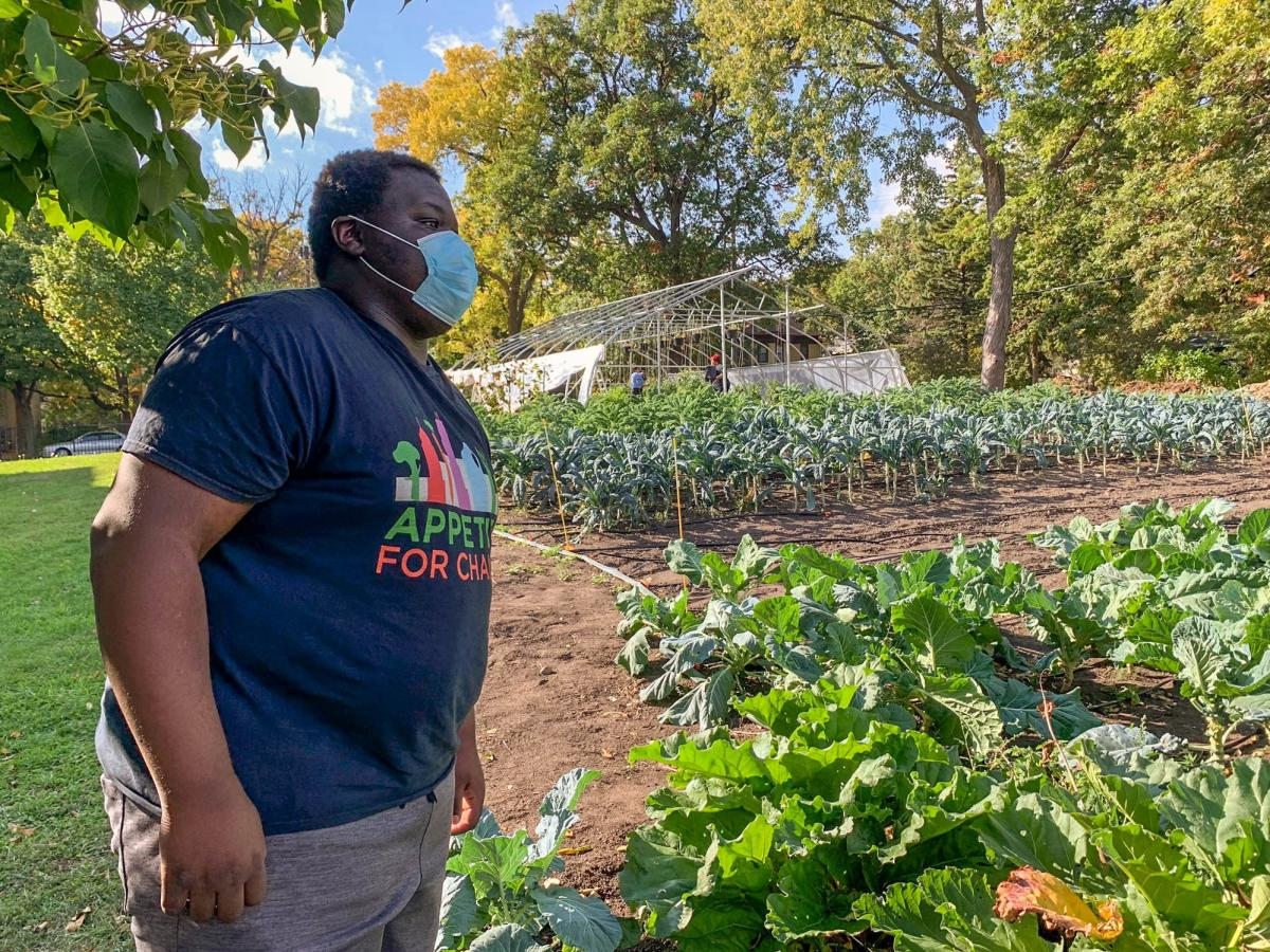 """Carl Childs works after school with Appetite for Change, helping provide produce to families who can't easily access it. """"It's really important and I love it, giving back to the community,"""" he says."""