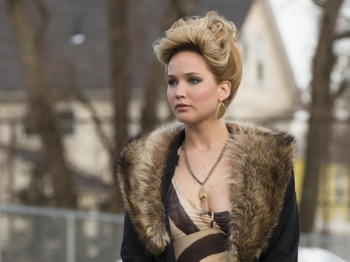 Jennifer Lawrence plays the wife of Bale's character, a woman who's not especially pleased about how complicated their lives have become.