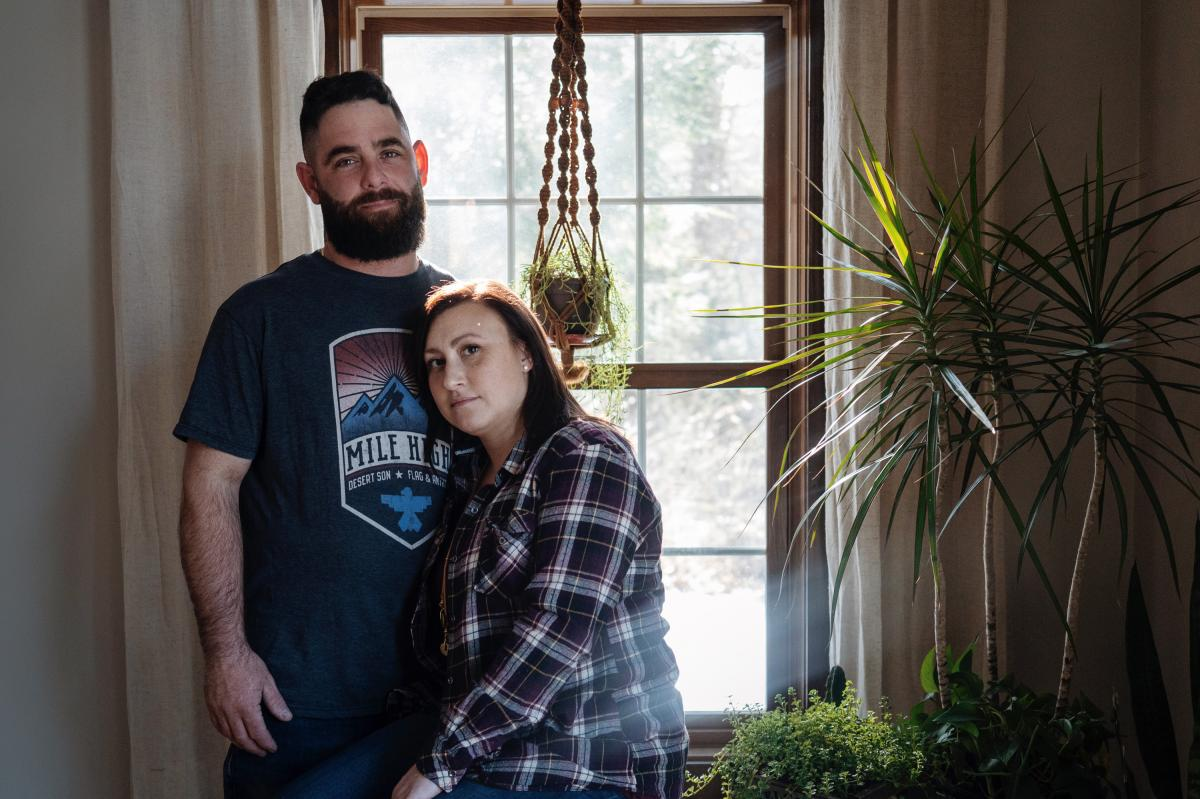 Jennifer and Andrew Ford at their home in Oakham, Mass. Following the birth of their second daughter, Jennifer dealt with serious postpartum depression and Andrew urged her to get help.