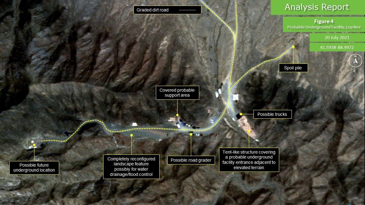 Satellite imagery shows a new tunnel being constructed at the Lop Nur nuclear test site in Western China.