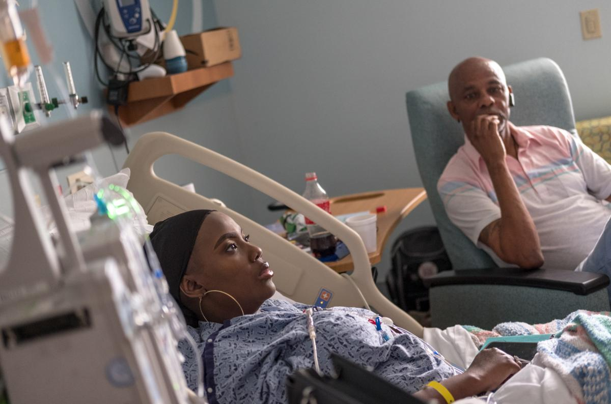 In July, Gray was recovering following a medical procedure that involved infusions of billions of her own bone marrow cells back into her body, after they had been edited using the gene-editing technique CRISPR. Her father, Timothy Wright (right), travele