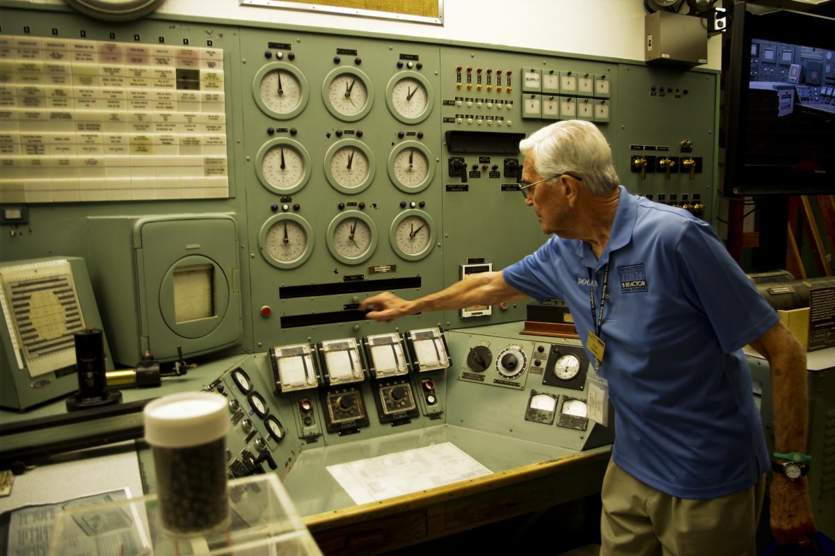 Vinther, a physicist, spent a lot of time here in the reactor's control room. The inventor of nuclear reactors, Enrico Fermi, also had an office here.