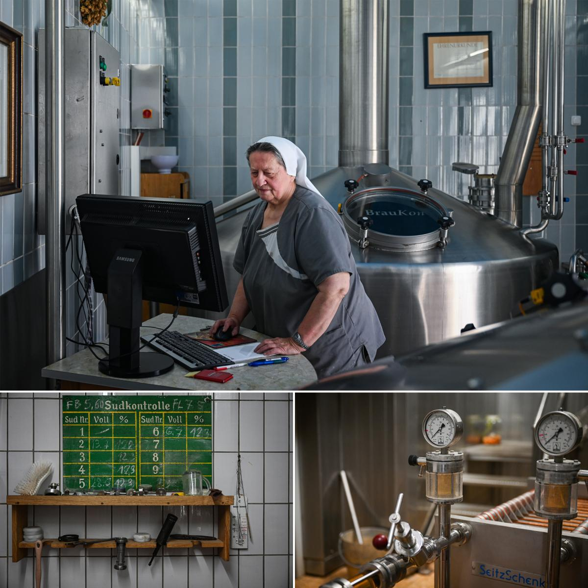 Top: Sister Doris in the brewhouse. Together with one employee the nun runs the small cloister brewery in Mallersdorf. Bottom: Work utensils (left) and pressure gauges in the brewery.