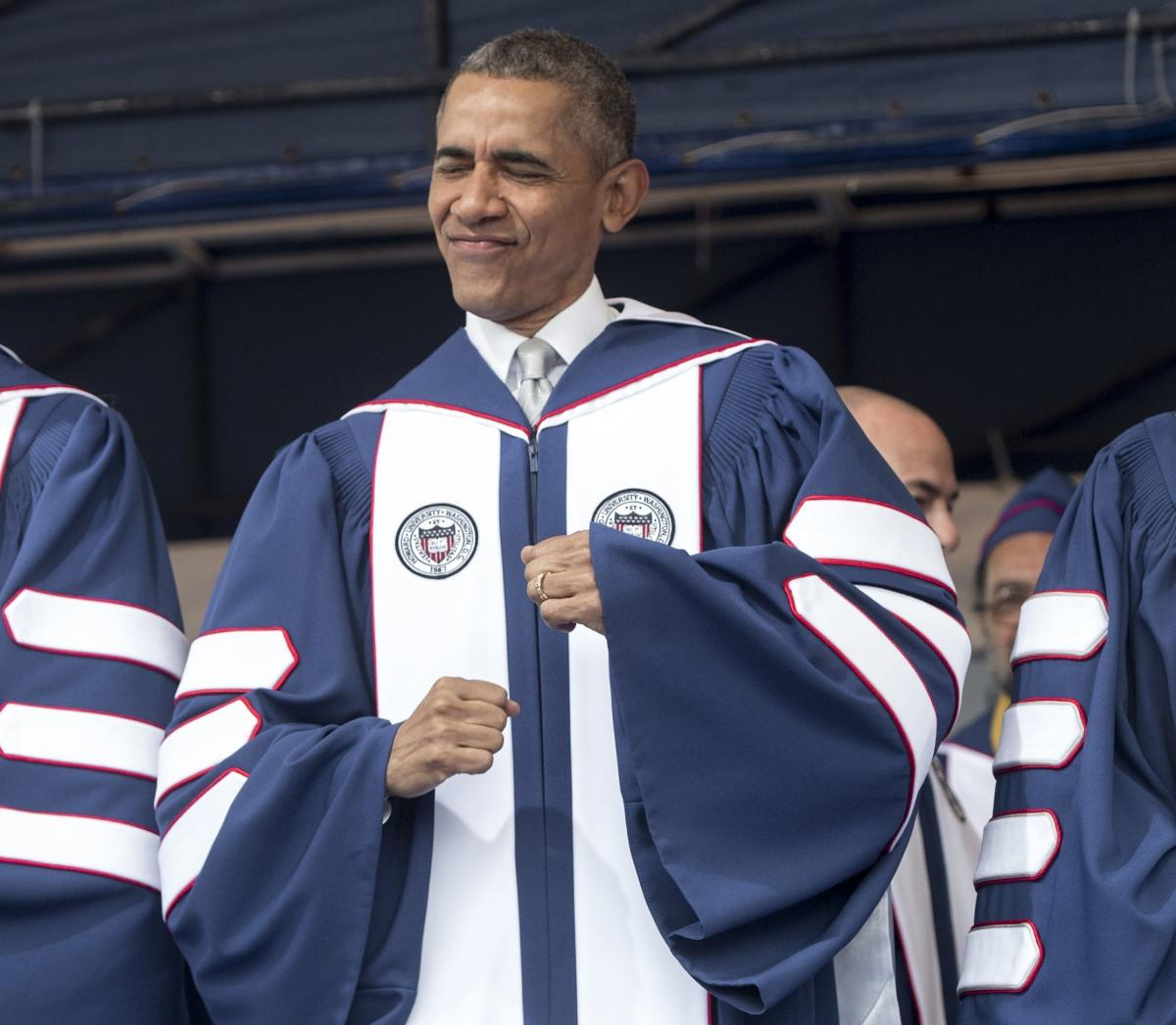 Obama's tone has lightened lately in some of his speeches, like this one at Howard University last week, as he's taken the opportunity to tout what he sees as the country's prosperous economy — and dance a little.