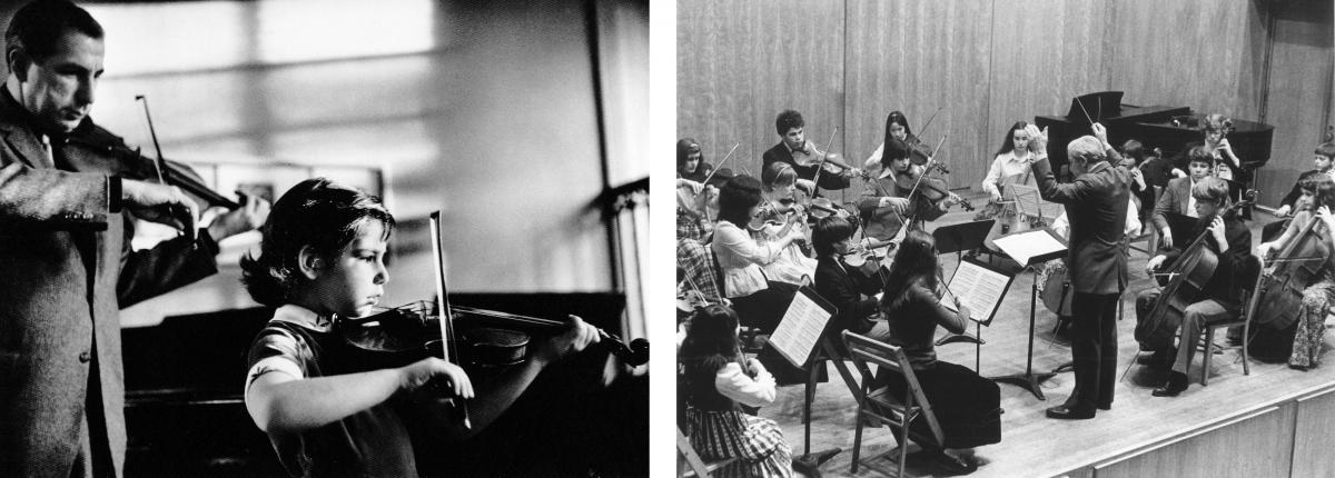 (Left) Totenberg practices with his daughter Amy. (Right) Conducting a student orchestra. Totenberg had a long career teaching at places such as Boston University and the Tanglewood Music Center, and he was director of the Longy School of Music.