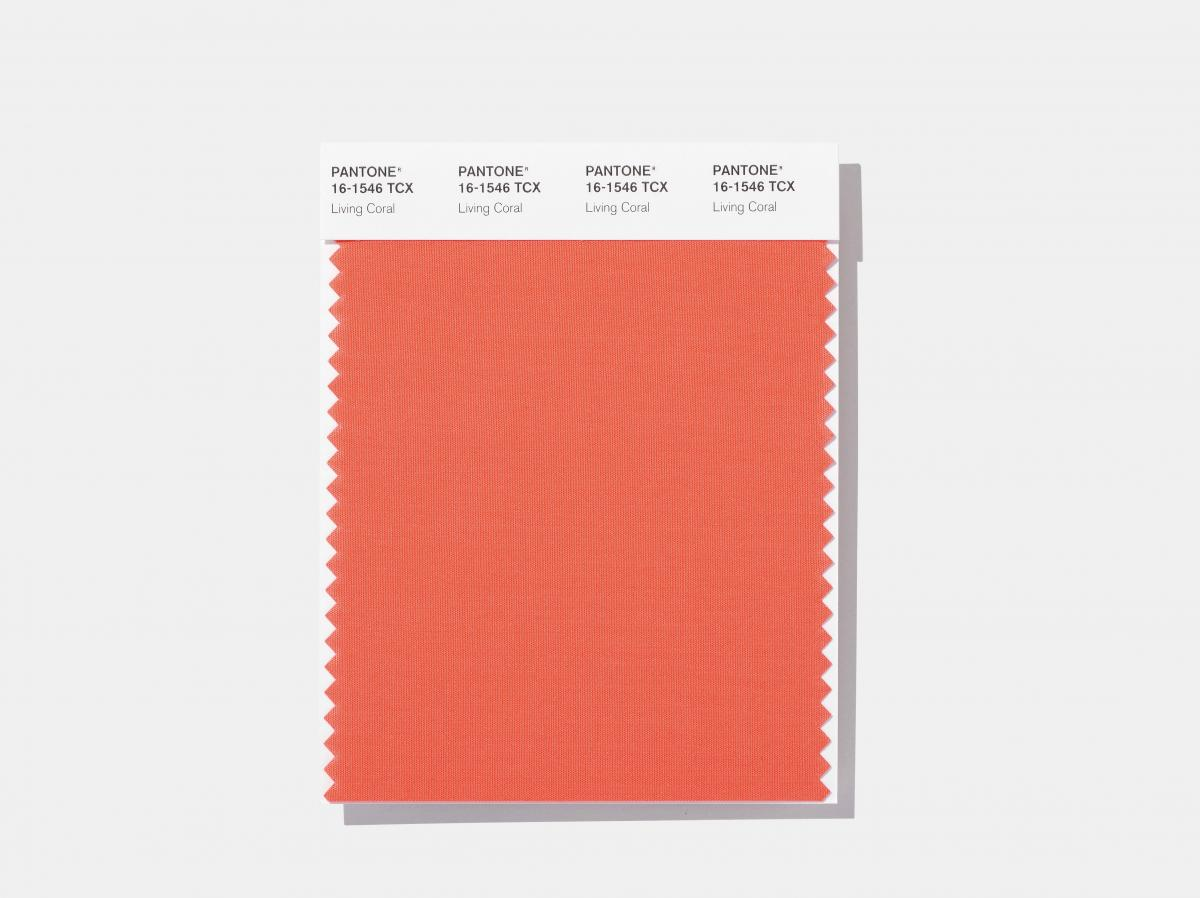 """Here's how the shade looks on a swatch released by the Pantone Color Institute, which describes living coral as """"vibrant, yet mellow."""""""
