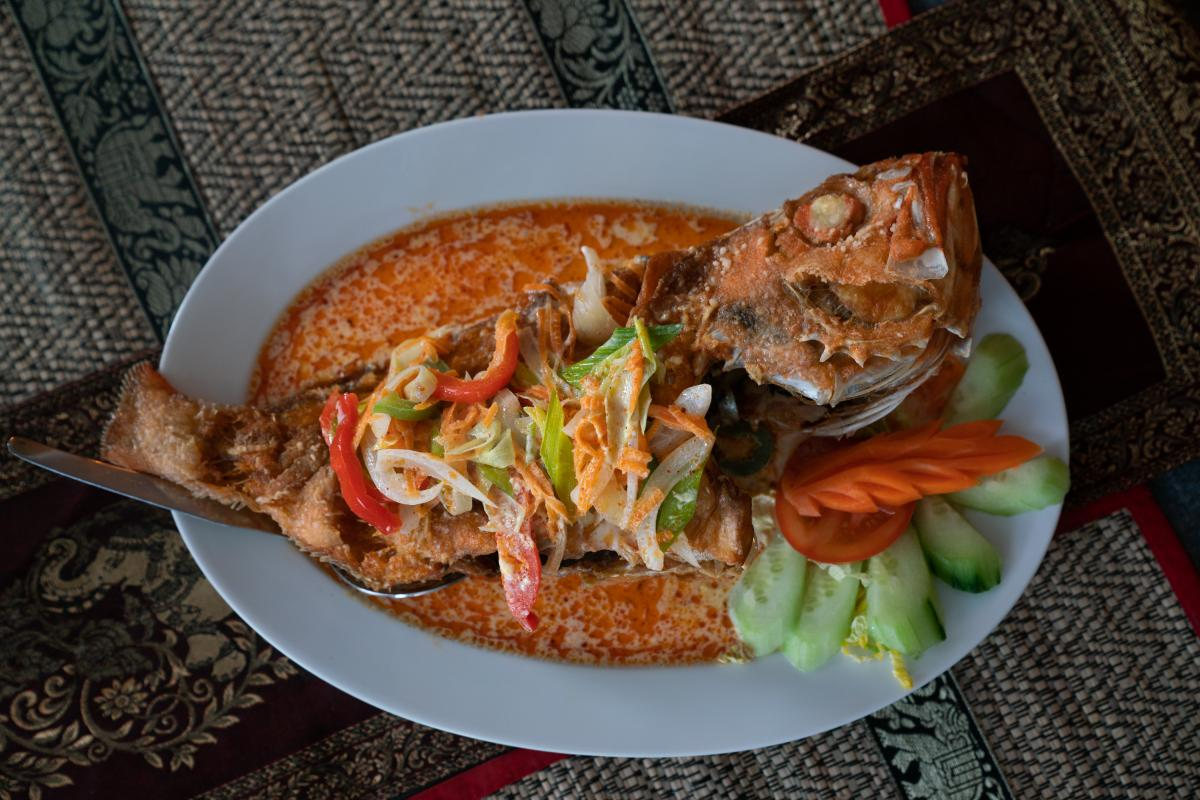 An Arctic redfish in Panang sauce.