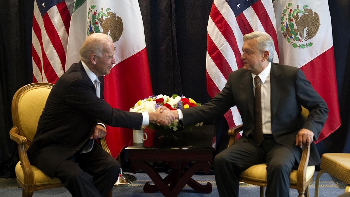 Then-Vice President Joe Biden meets with then-Mexican presidential candidate Andrés Manuel López Obrador in March 2012 in Mexico City.
