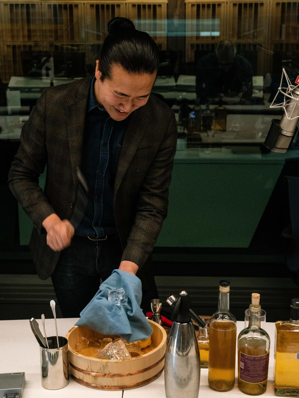 Eddie Kim, co-host of the Shift Drink podcast, says a cold glass is key to the cocktail.