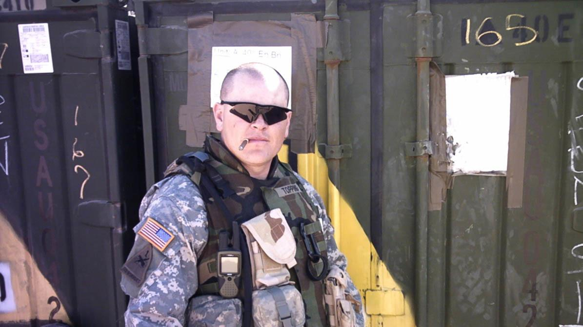 Duane Topping, during his second deployment, as an Army Specialist in Kuwait in 2006.