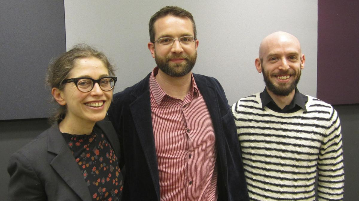 Iraq veteran Brian Castner (center) poses with librettist Stephanie Fleischmann and composer Jeremy Howard Beck, who are adapting Castner's PTSD memoir, The Long Walk, into an opera at New York's American Lyric Theater.