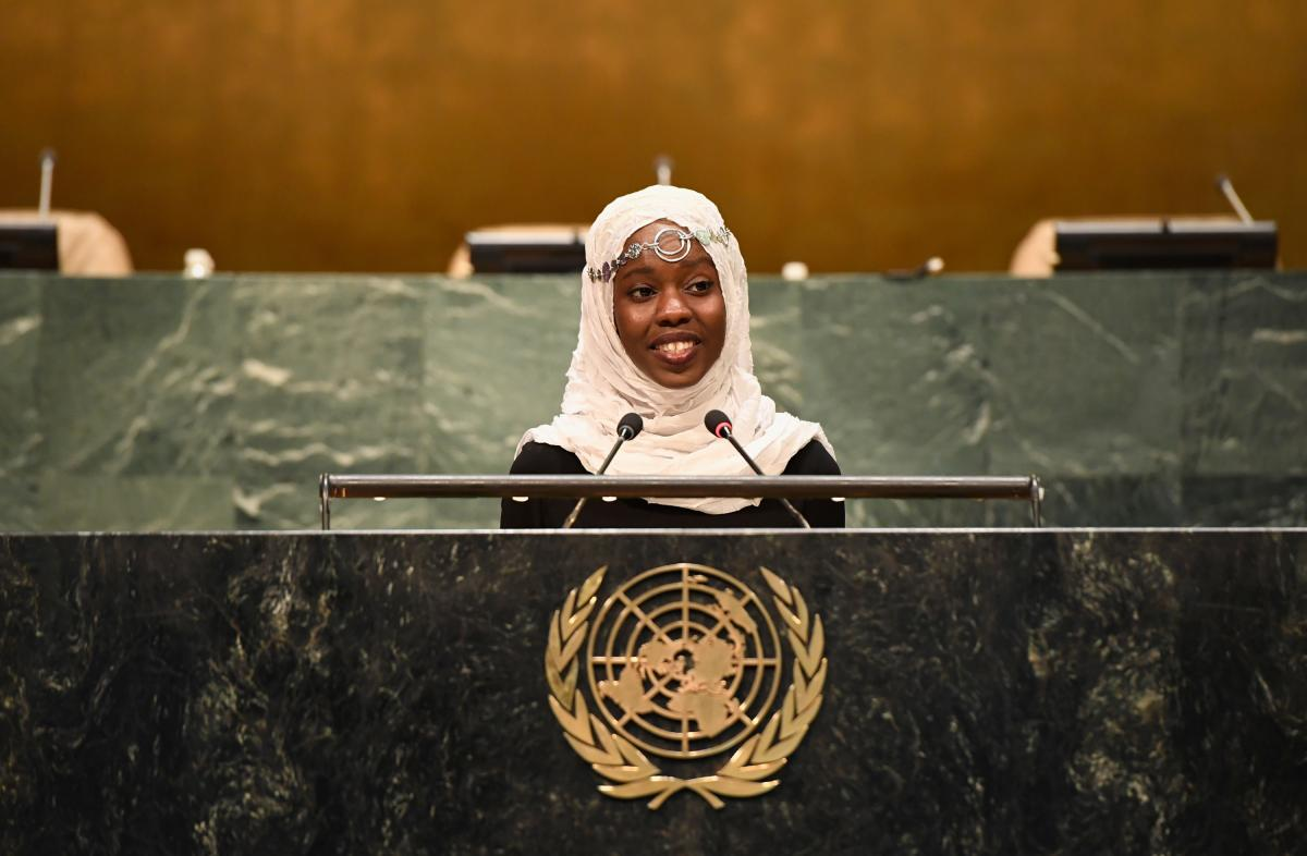 Mahmoud addresses the U.N. General Assembly in 2016 in support of a petition that demanded a better deal for the world's refugees in education, safety and work.