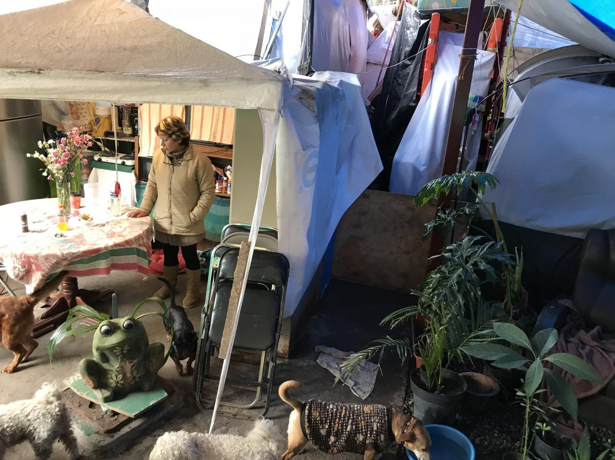 Guadalupe Padilla Mendoza still lives in a shelter made of tents and tarps a year after the deadly earthquake that rocked Mexico City on Sept. 19, 2017. After dedicating her entire professional life to public service, she says she feels abandoned by the g