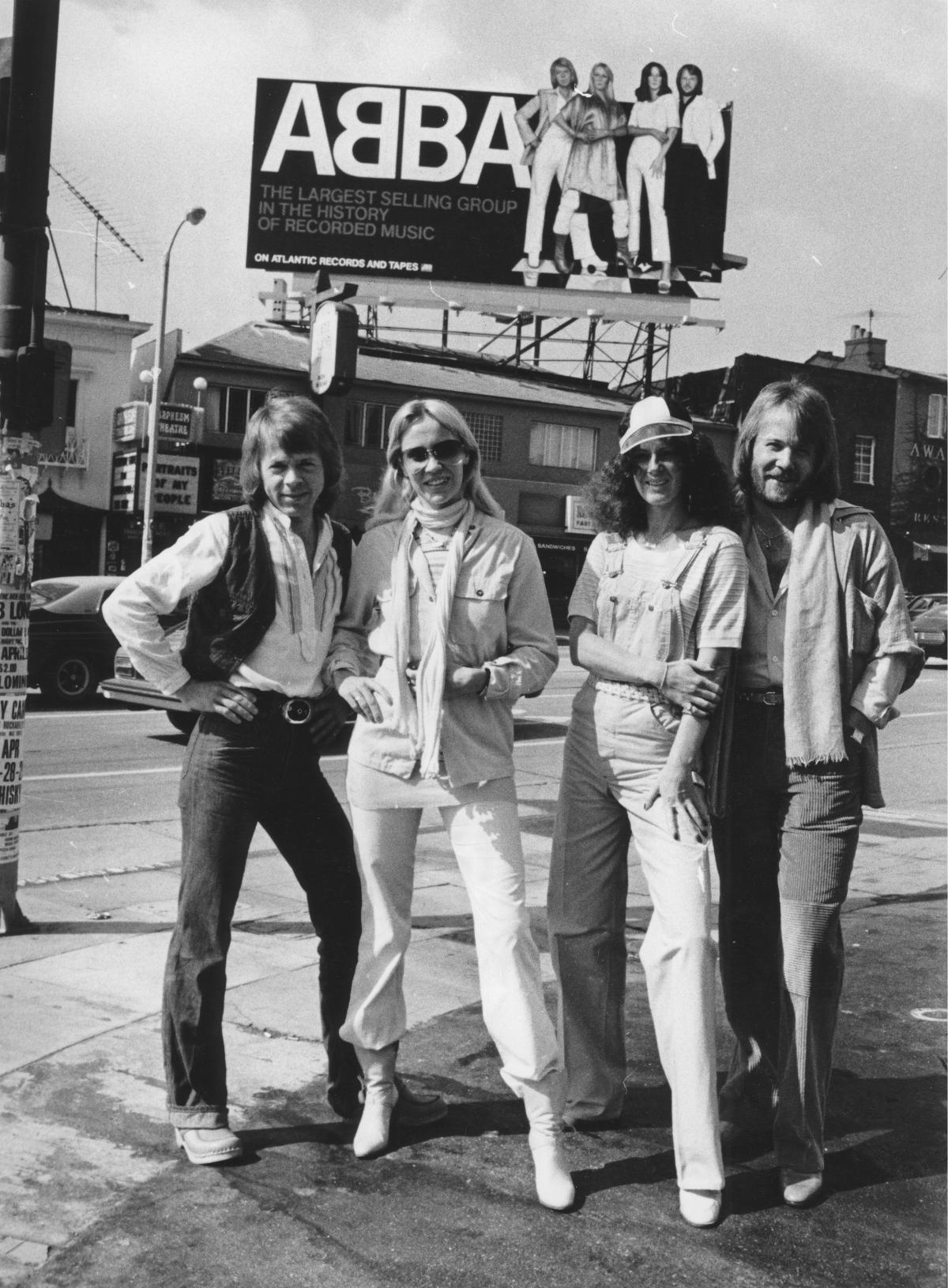 """An ABBA billboard in Los Angeles in 1978, the year after the group had its only U.S. No. 1 single, """"Dancing Queen."""""""