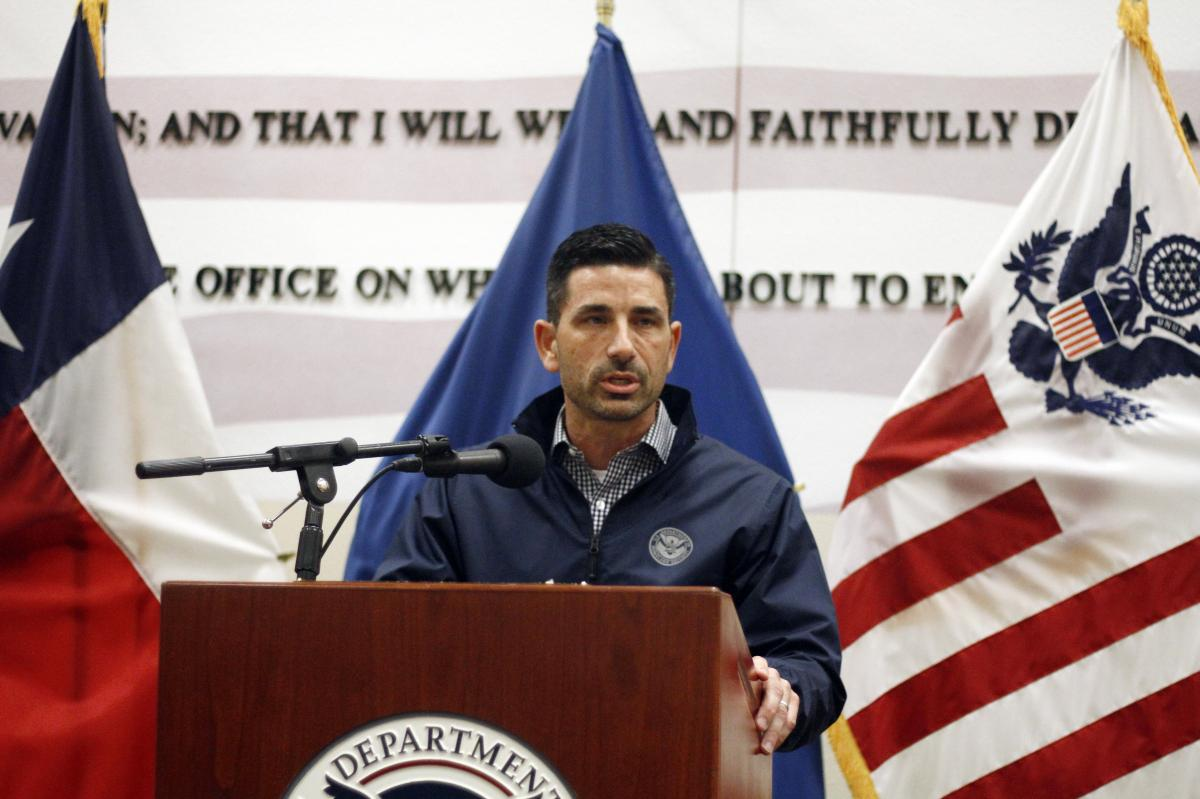 Acting Homeland Security Secretary Chad Wolf speaks after touring the U.S.-Mexico border in El Paso, Texas, on Nov. 20.