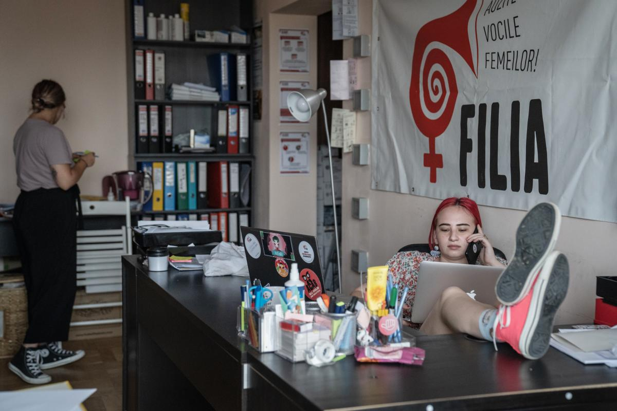 Cibiliu works at the office at Centrul Filia, an independent nonprofit feminist advocacy organization that fights against gender inequality.