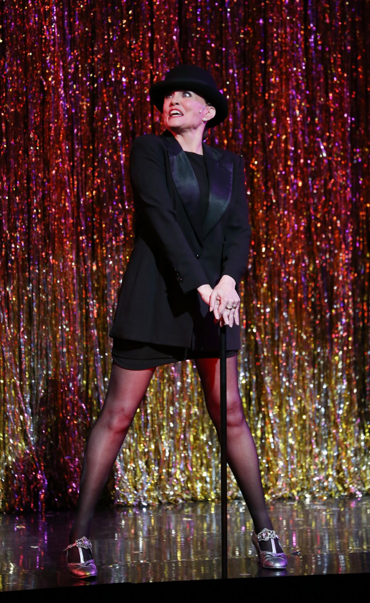 The actress, dancer and choreographer is pictured during a performance of Chicago as it became the second longest running show in Broadway history in 2014 in New York City.