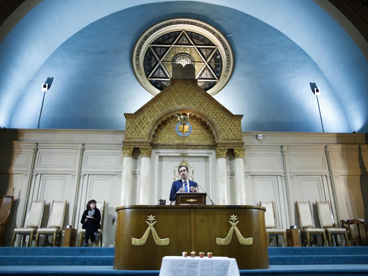"Jersey City Mayor Steven Fulop speaks during a vigil Wednesday for the shooting victims in Jersey City, N.J. Earlier that day, Fulop, who is Jewish himself, made clear to reporters that he believed the attack on a kosher market was an anti-Semitic act: ""T"