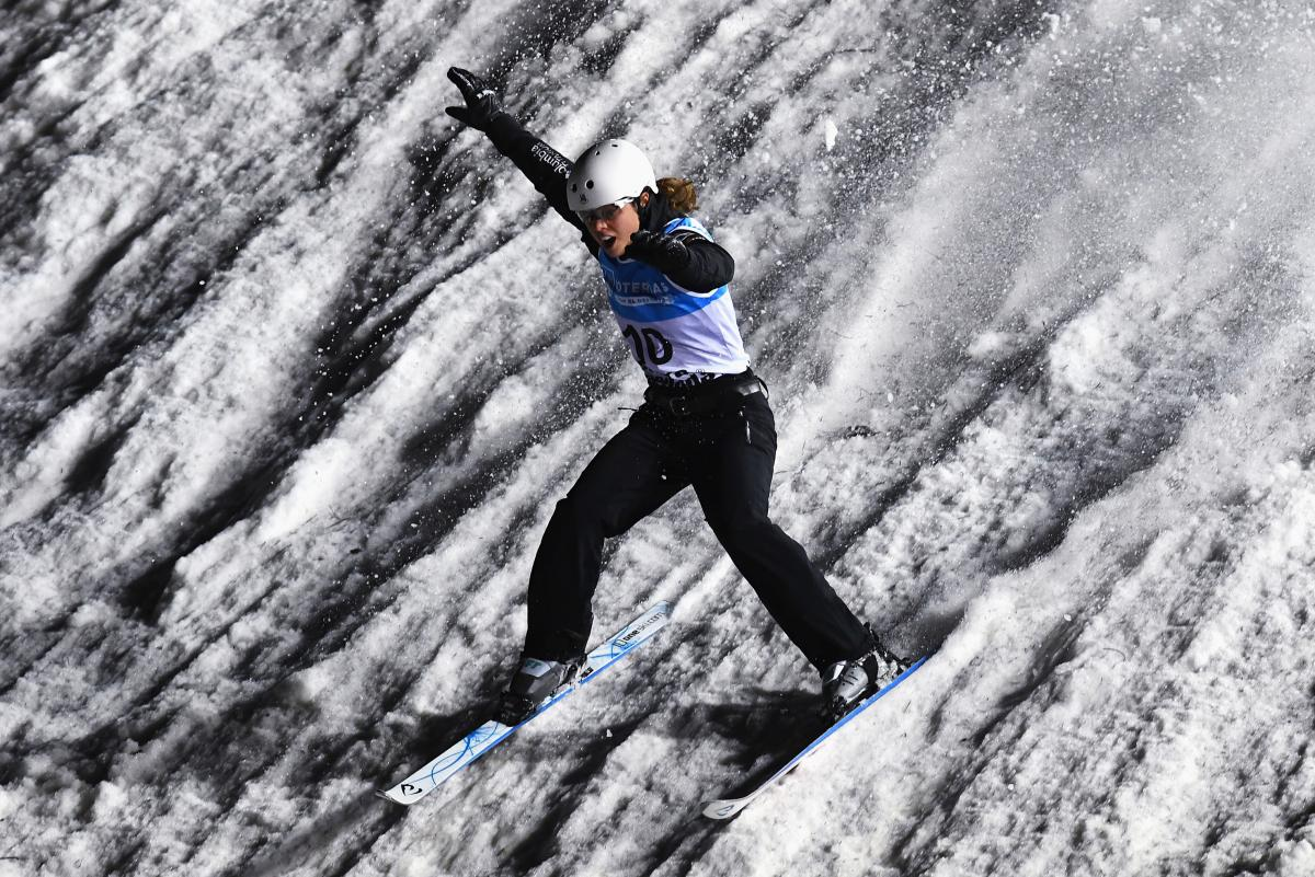 Ashley Caldwell celebrates after winning the gold medal in the Women's Aerials Final at last year's World Championships in Sierra Nevada, Spain.