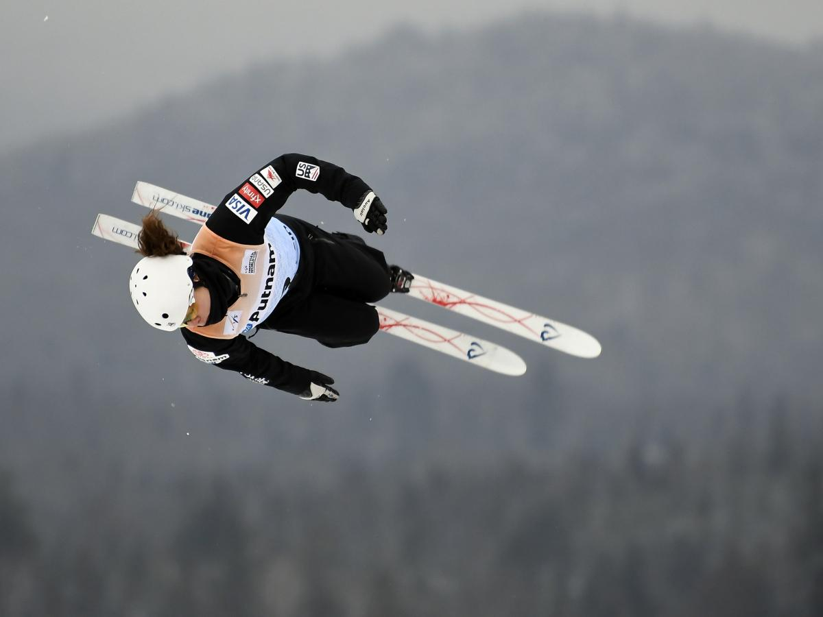 "Caldwell competes in the women's World Cup freestyle skiing aerials in Lake Placid, N.Y., on Jan. 19. ""I always wanted to be like the boys for a long time,"" she says, ""and now I like it when my coaches treat me like me."""