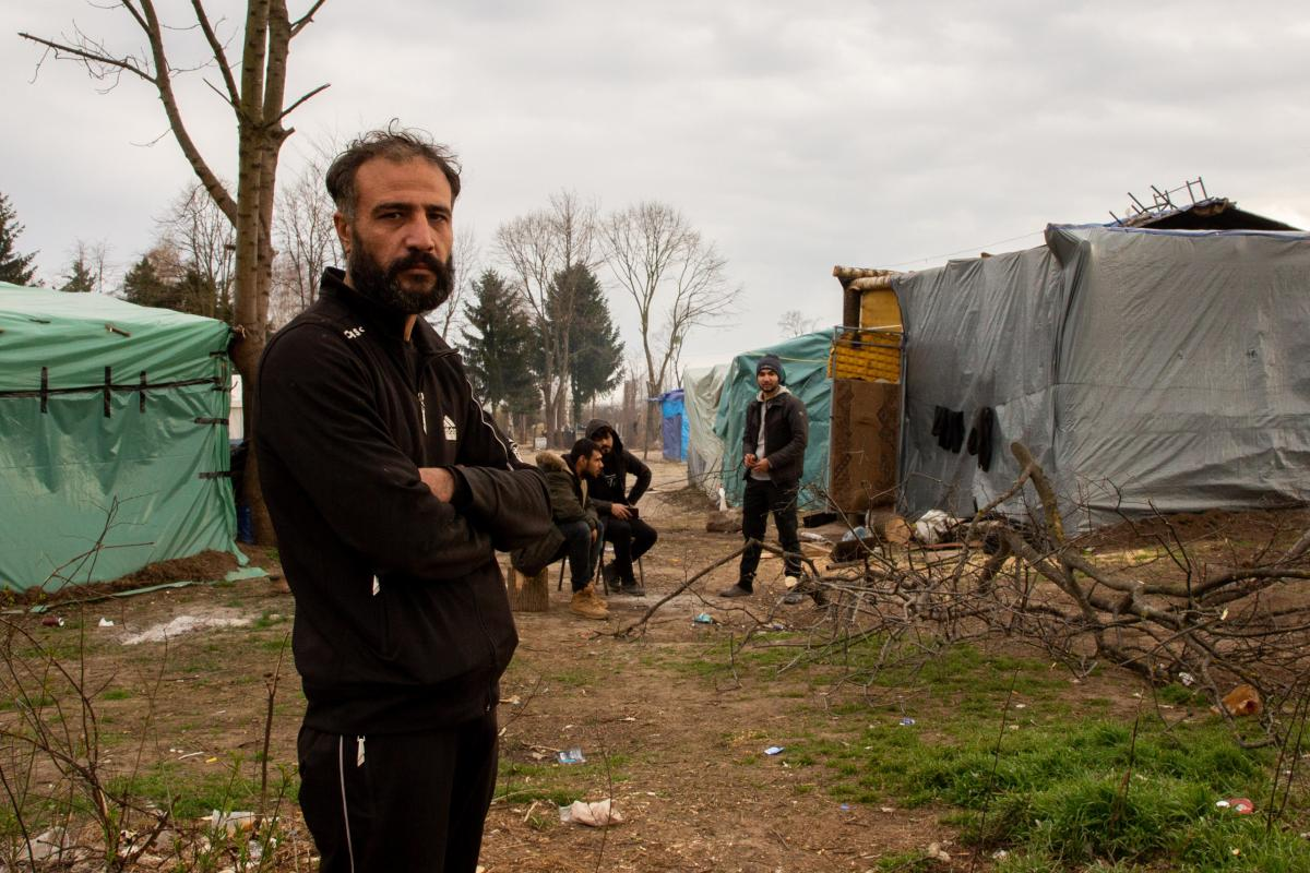 Tareq Abu Hatim, from Homs, Syria, lives just outside the perimeter of Sombor camp in Serbia's north, and has been on the road for the past year and a half. He says he paid more than $8,300 in his attempt to reach the EU, selling his house and receiving f