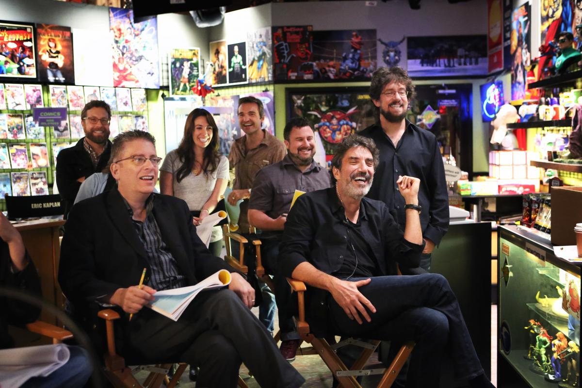 Bill Prady, front left, and Chuck Lorre, front right, are the co-creators of The Big Bang Theory.