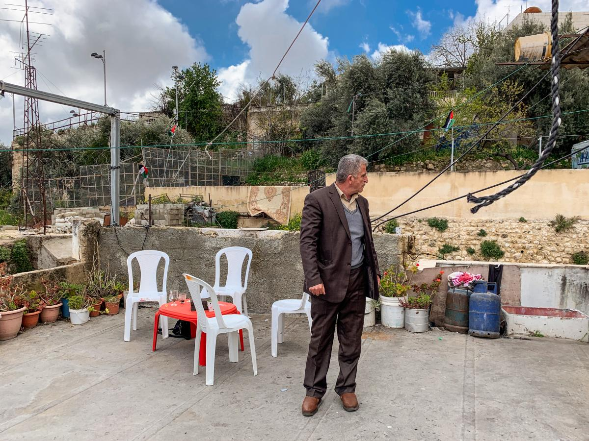 Mufid Sharabati, a Palestinian, on his roof in Hebron.