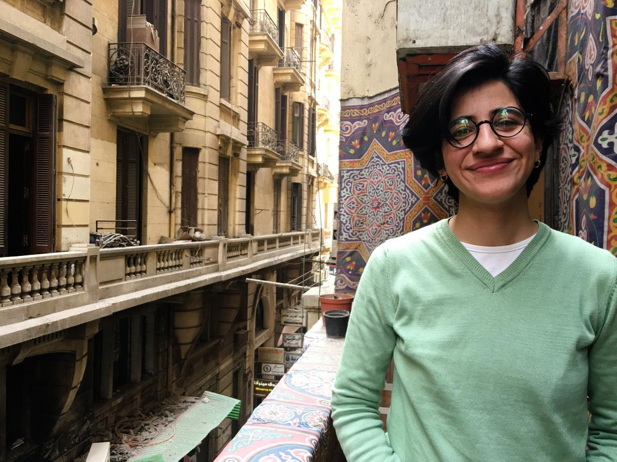 Sarah Hegazy, shown here in Cairo, was arrested after raising a rainbow flag at a Mashrou' Leila concert in Cairo last year. She was released on bail after three months in jail.