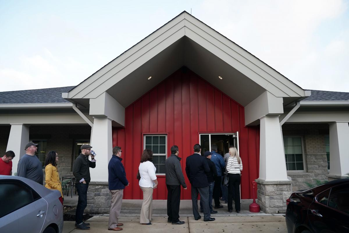 A polling station in Franklin, Tenn., on Election Day 2018. Tennessee's legislature is considering a bill that would impose hefty financial penalties on groups that register voters if they submit too many improperly filled out forms.