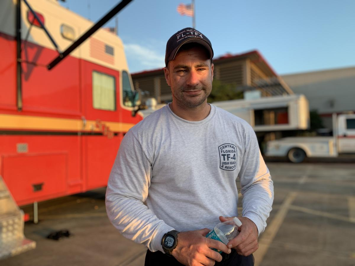 Jeremiah Plasters, a search and rescue specialist from Orlando, has been searching for survivors of Hurricane Laura.