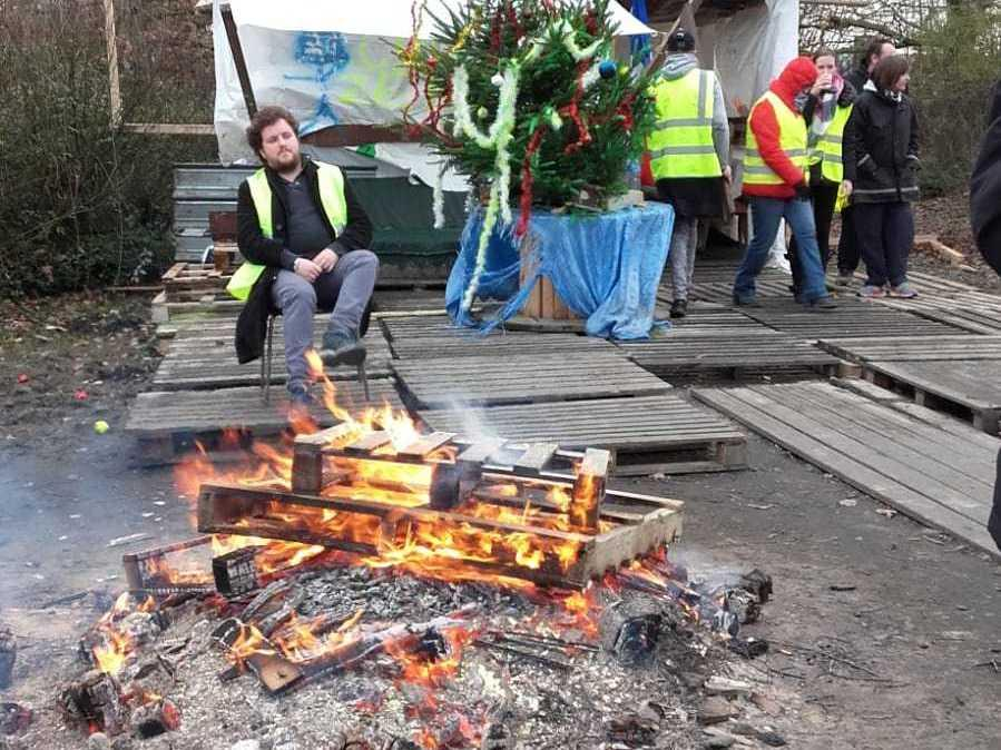 Protesters set up camp at a traffic circle near Lille, in northern France.