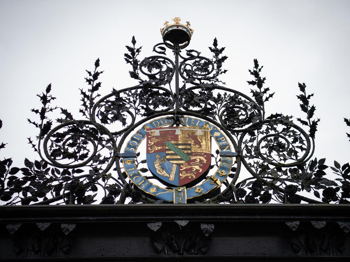 """The gates of the Sandringham Estate where Prince Harry met on Monday with Queen Elizabeth II, Prince Charles and Prince William to discuss the decision of Harry and his wife, the former Meghan Markle, to """"step back"""" from the responsibilities of being """"sen"""