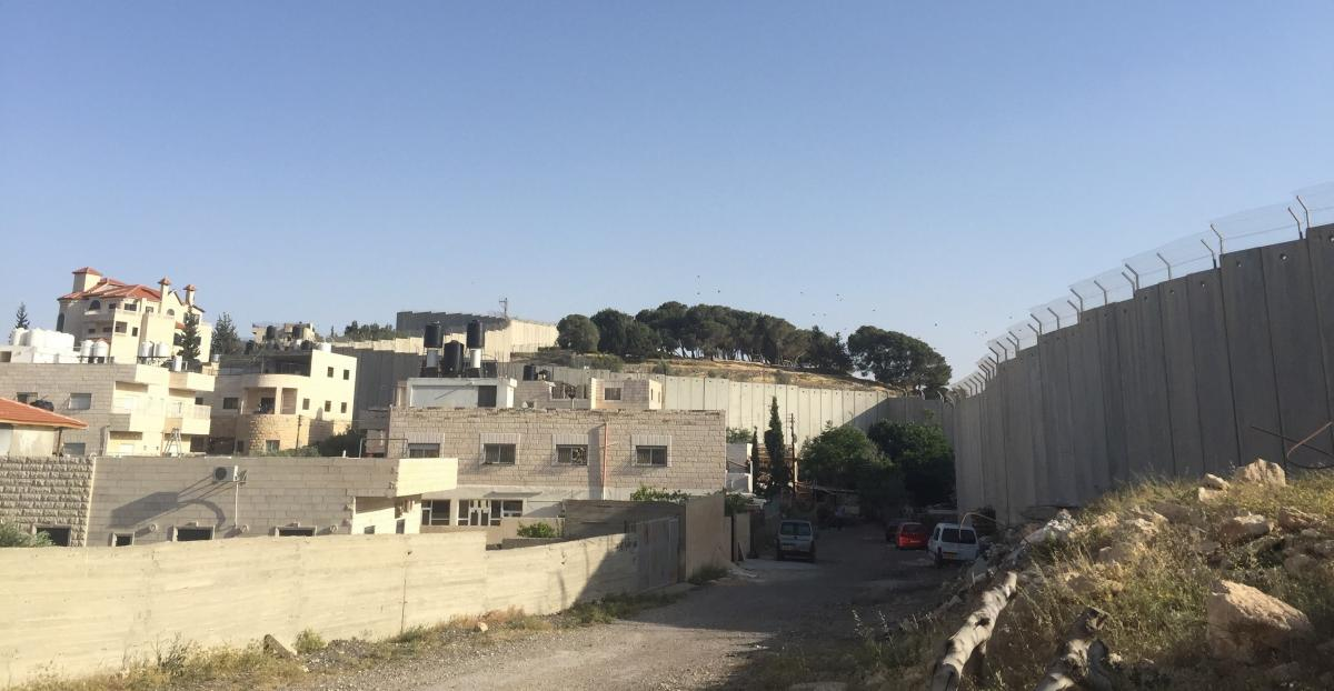 A view of the Palestinian town Abu Dis and the barrier that separates it from Jerusalem.