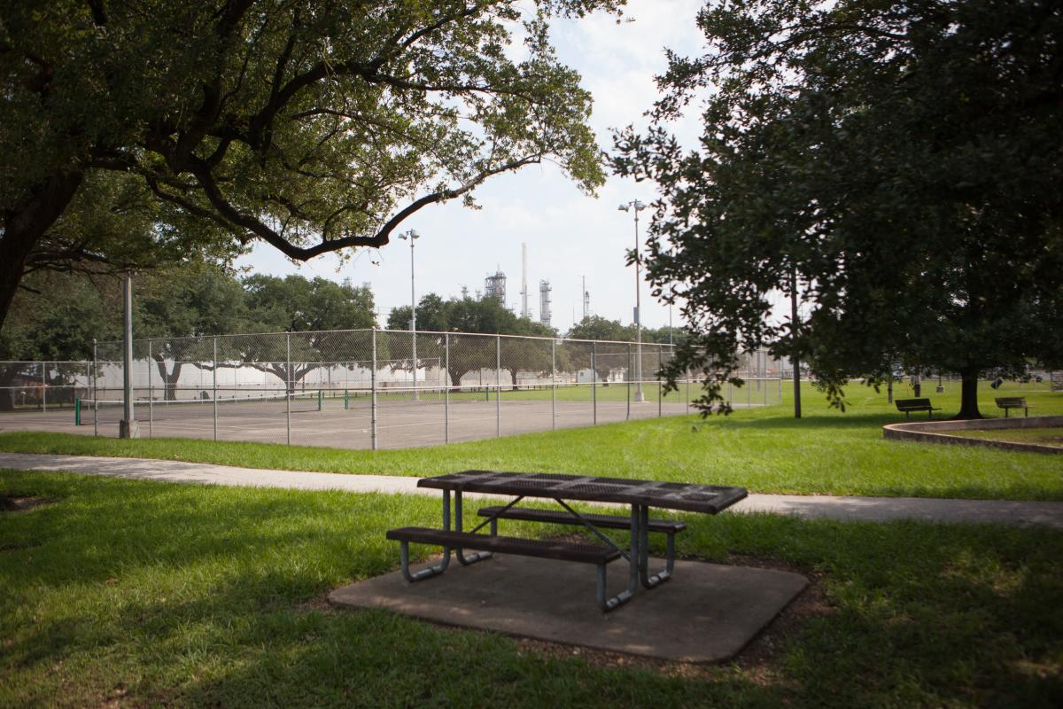 "Hartman Park in the Manchester neighborhood of Houston.The overall air quality problem in the city ""is ongoing,"" with high levels of ozone as well, which can exacerbate respiratory symptoms. People who are most at risk, such as elderly people or people wh"
