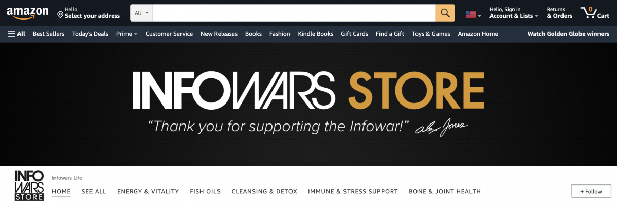 """Jones' Infowars Life brand sells dietary supplements through Amazon as a third-party seller. Amazon earns a """"referral fee"""" for sales made through its site."""