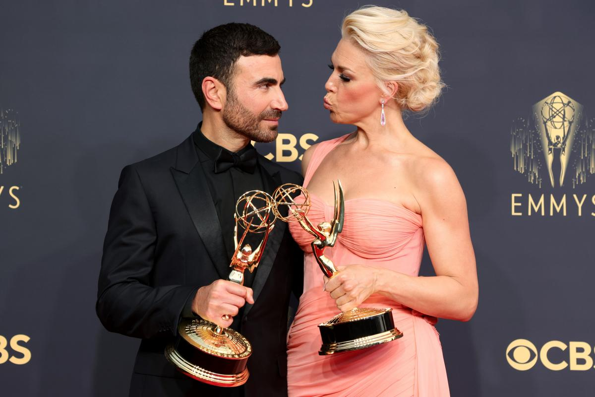 Brett Goldstein, winner of the Outstanding Supporting Actor in a Comedy Series award for 'Ted Lasso,' and Hannah Waddingham, winner of the Outstanding Supporting Actress in a Comedy Series award for 'Ted Lasso.'