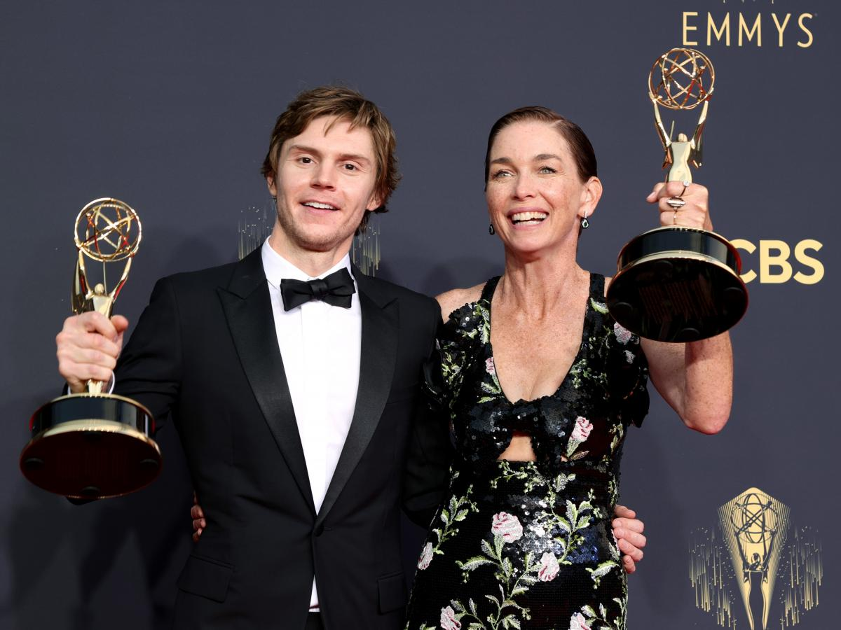 Evan Peters, winner of the Outstanding Supporting Actor In A Limited Or Anthology Series Or Movie award for 'Mare Of Easttown' and Julianne Nicholson, winner of the Outstanding Supporting Actress In A Limited Or Anthology Series Or Movie award for 'Mare O