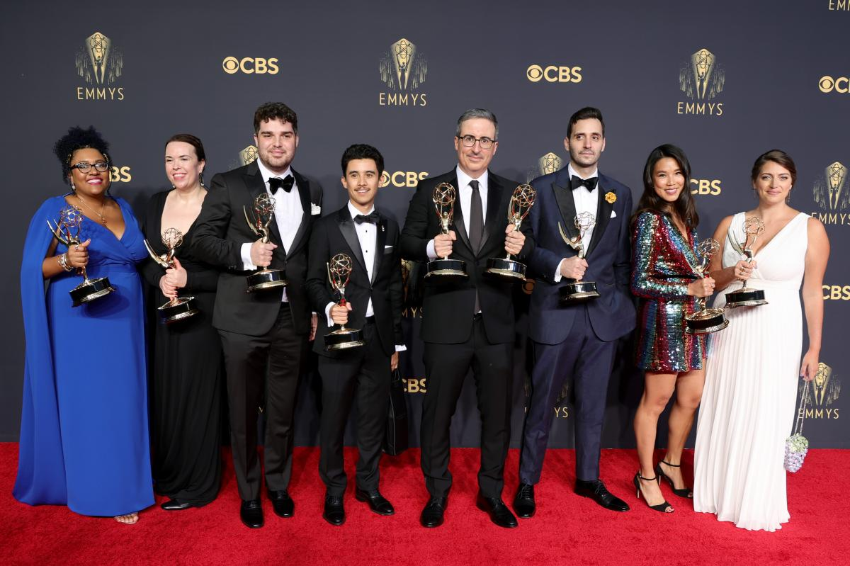 John Oliver (C), winner of the awards of Outstanding Variety Talk Series and Outstanding Writing for a Variety Series poses with fellow writers.