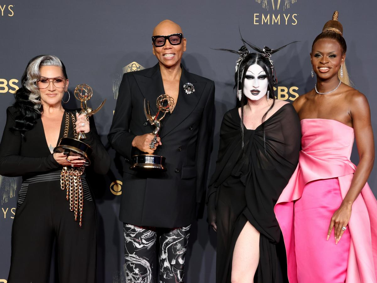 Michelle Visage, RuPaul, Gottmik, and Symone, winners of the Outstanding Competition Program award for 'RuPaul's Drag Race,' pose in the press room