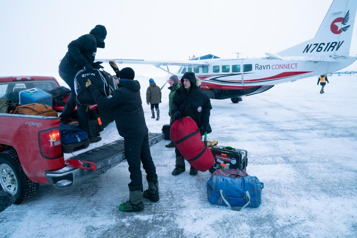 Census workers and their production crew arrive in Toksook Bay. The Census Bureau's workers rely on bush planes, snow machines, or snowmobiles, and dog sleds to get to Alaskan villages to ask people their name, sex, age, race and other demographic informa
